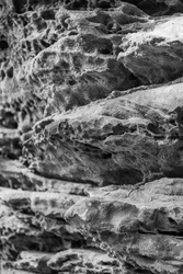 Eroded rock formations in monochrome