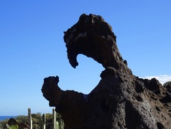 Eroded rocky formation in the South of Tenerife island. Canary Islands. Spain.