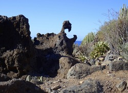 Eroded rocky formations in the South of Tenerife island. Canary Islands. Spain.