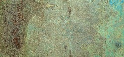 Eroded Rust Metal Green Iron Decay Cracked Sheet Wide Background. Weathered Iron Rusty Messy Isolated Metallic Grungy Texture. Corroded Iron Structure. Abstract Rough Ragged Steel Urban Web Banner.