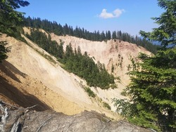 Eroded soil at Ruginoasa Abyss. Groapa Ruginoasa in Apuseni Mountains, Natural Monument, Alpine Trails View