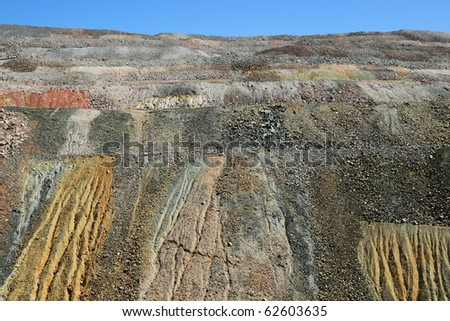 eroded waste piles from the Ray copper mine, Pinal County, Arizona