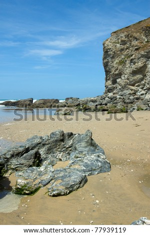 Eroding rock cliffs, Porthtowan beach Cornwall UK.