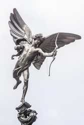 Eros love statue at Piccadilly Circus. London, United Kingdom.