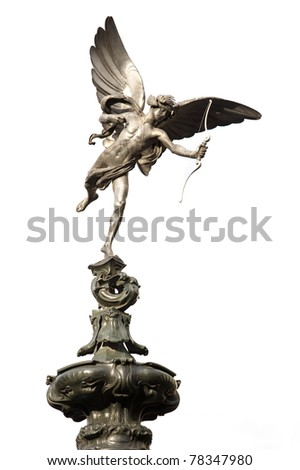 Eros love statue at Piccadilly Circus. London, United Kingdom. Isolated on white background.