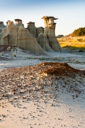 Erosion and Hoodoos at Theodore Roosevelt National Park at sunrise, ND, USA