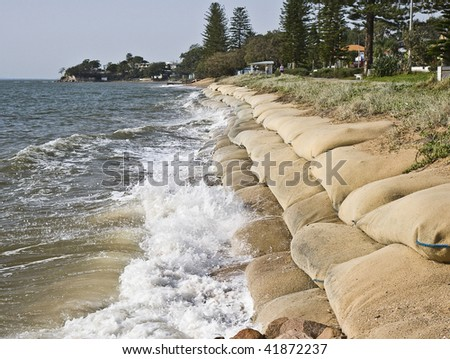 Erosion caused by rising sea levels due to global warming