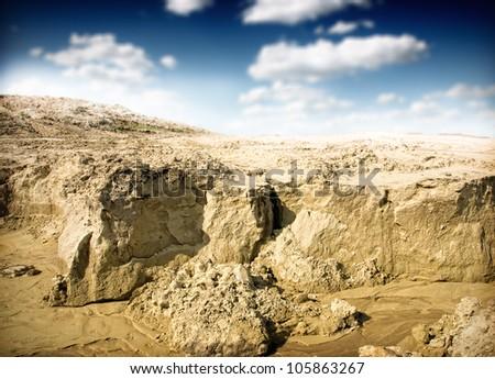 erosion land - stock photo