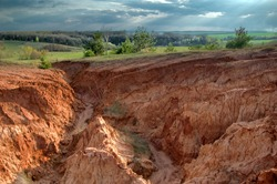 Erosion of the land in the steppe zone