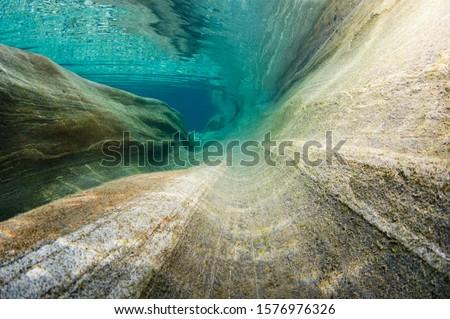 Photo of  Erosion of the riverbed of the Verzasca River, Lavertezzo, Valle Verzasca, Canton Ticino, Switzerland
