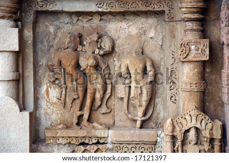 erotic sculptures from Khujaraho temple from India - stock photo