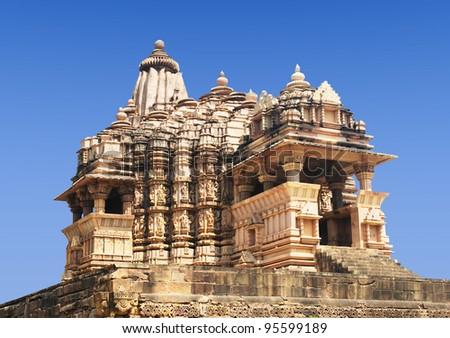 Erotic Temple in Khajuraho. Madhya Pradesh, India.
