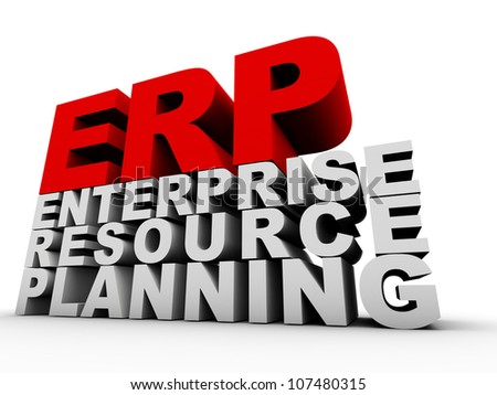 ERP Enterprise Resource Planning over white background