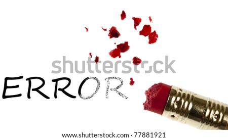 Error word erased by pencil eraser