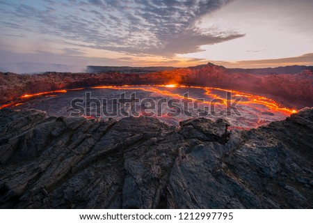 Ertale is the most active volcano of Ethiopia. This is one of the five famous volcanoes in the world that have a lava lake, as well as the only volcano in the world that has two lava lakes at once,  #1212997795