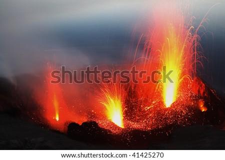 Eruptinf volcano Stromboli in Italy