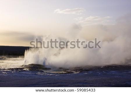 Erupting geyser in yellowstone