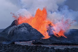 Erupting vulcano in iceland with melting lava
