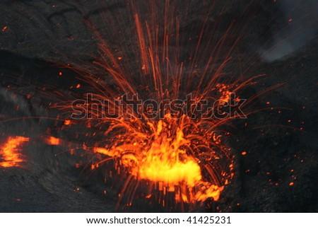 Eruption in the  Erta Ale  lava lake. Erta Ale volcano,  Danakil desert, Northern Ethiopia