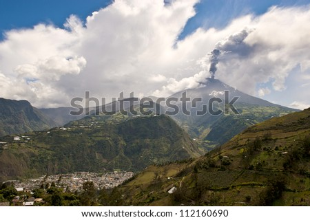 Eruption of a volcano Tungurahua, Cordillera Occidental of the Andes of central Ecuador, South America