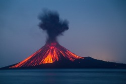 Eruption of Anak Krakatau Volcanoes Indonesia