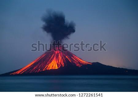 Eruption of Anak Krakatau Volcanoes Indonesia