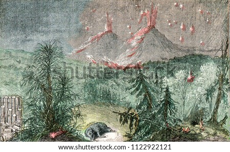 eruption of ashes and pumice of ...