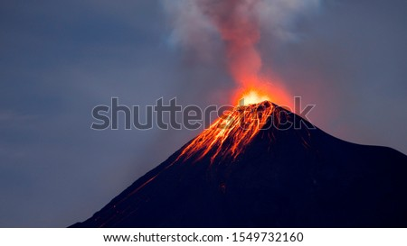 Eruption of Fuego Volcano in Guatemala. This picture is a long exposure and it was taken over night. This volcano is very active. You can see it making explosive eruptions almost every day of the year