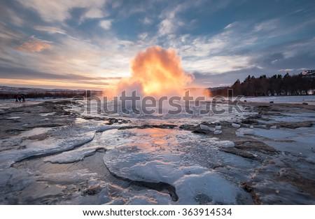 Eruption of Geyser Strokkur, Iceland