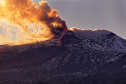 eruption of the Etna volcano