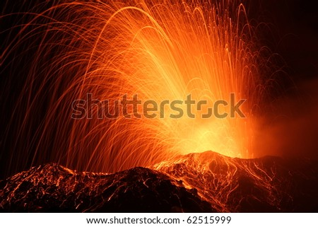 eruption of the volcano stromboli / eolian islands / italy