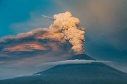 Eruption of volcano Agung in Bali