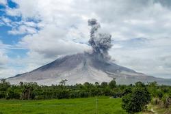 Eruption of volcano. Sinabung, Sumatra, Indonesia 28-09-2016