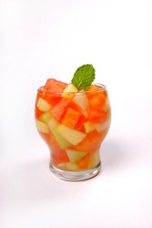 Es buah is an Indonesian iced fruit cocktail dessert. This cold and sweet beverage is made of diced fruits and very popular during Ramadhan for iftar.