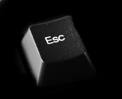 Esc key, computer keyboard background and texture, side view