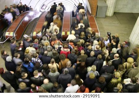 escalator crowd - stock photo