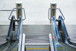 Escalator descent, moving staircase. Electric escalator stairway