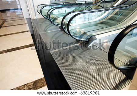 escalator in modern building interior . - stock photo