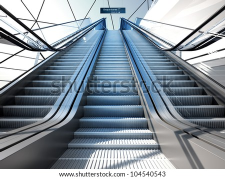 escalator in modern futuristic interior
