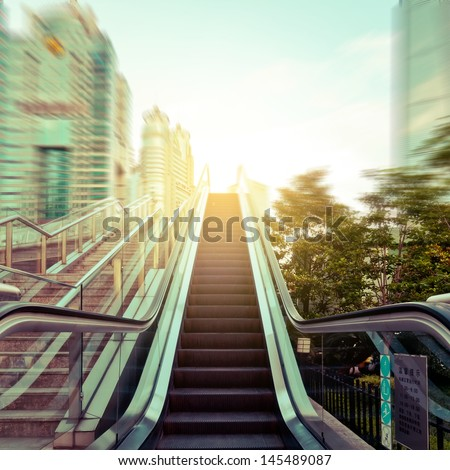 escalator in the outdoor under the sky, urban abstract landscape