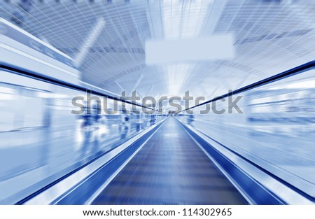 escalator ,interior of the shanghai pudong airport