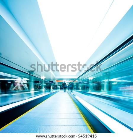 escalator  ,interior of the shanghai pudong airport . #54519415
