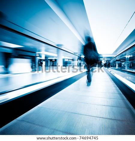 escalator  ,interior of the shanghai pudong airport . #74694745