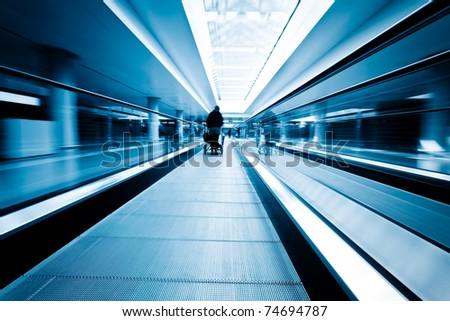 escalator  ,interior of the shanghai pudong airport . #74694787