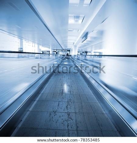 escalator ,interior of the shanghai pudong airport . #78353485