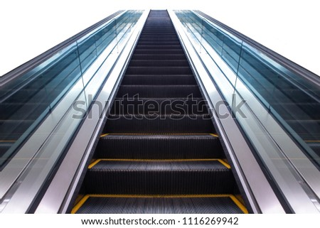 escalator isolated on white background. front view. escalator in subway station. Moving up staircase escalator.