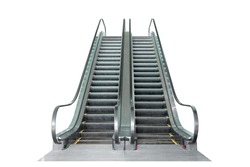 Escalator isolated on white background with clipping path