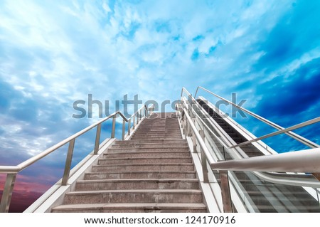 escalator to the sky, urban fantasy landscape,abstract expression