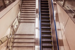 Escalators and stairs in the subway station.
