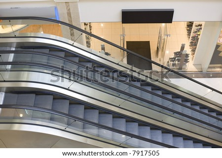 Escalators in mall. Focus on escalator #7917505